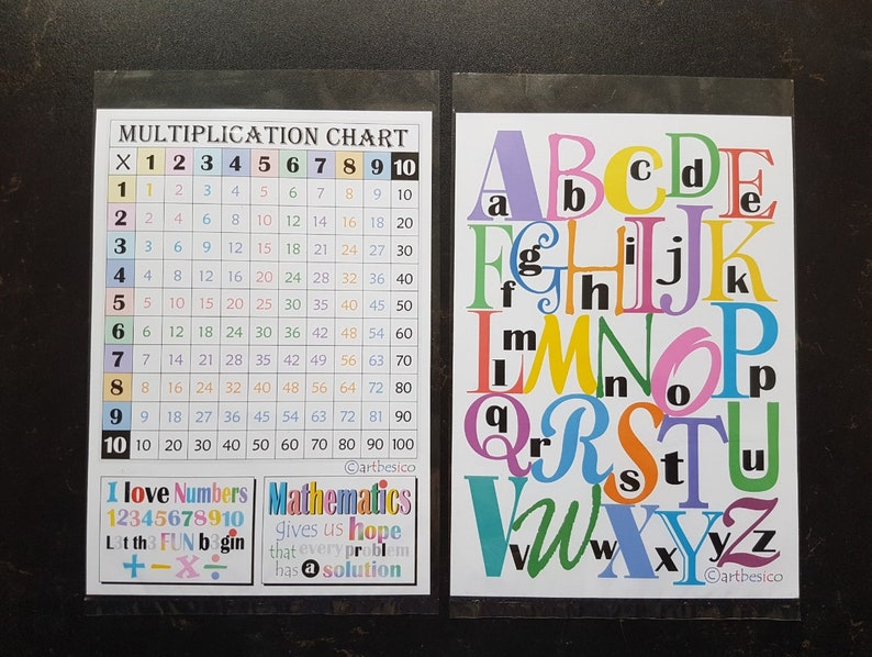 Alphabets A to Z capitals and small letters mathematics number quotes Multiplication Chart educational 26 alphabets learning play cards