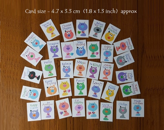 Mini flat cards of Positivity scrapbook card toppers set of 36 inspirational /& encouraging lunchbox notes kitty cats design version 1