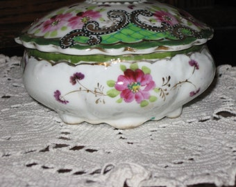 Hand painted hair receiver-pink flowers