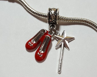 Fits European Bracelet or Pendant Dorothys Red Slippers Shoes Wizard of Oz Dangle Charm Bead