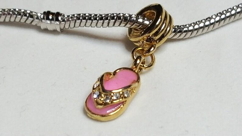 3b831555946f92 Shoe Charm Spacer-Golden Pink Sandal   Flip Flops Clear