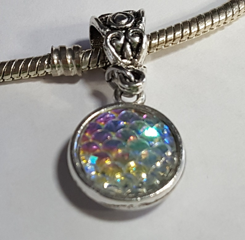 Mermaid Fish  Dragon Scales Round Dangle Charm  Mother of Pearl Tones  Spacer-Dual Sides Fits all Designer and European charm bracelet