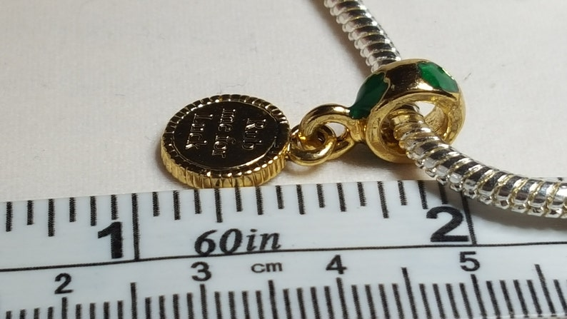 Fits all Designer and European Charm Bracelets Irish Luck CharmSpacer  Dangle  Rub Me For Luck Charm 22K GP