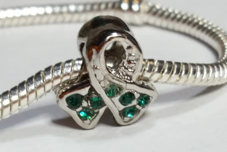 Fits all Designer and European charm bracelet Dark Green Awareness Ribbon-BiPolor,Bronchiolitis,Cerebral Palsy,Depression,Leukemia