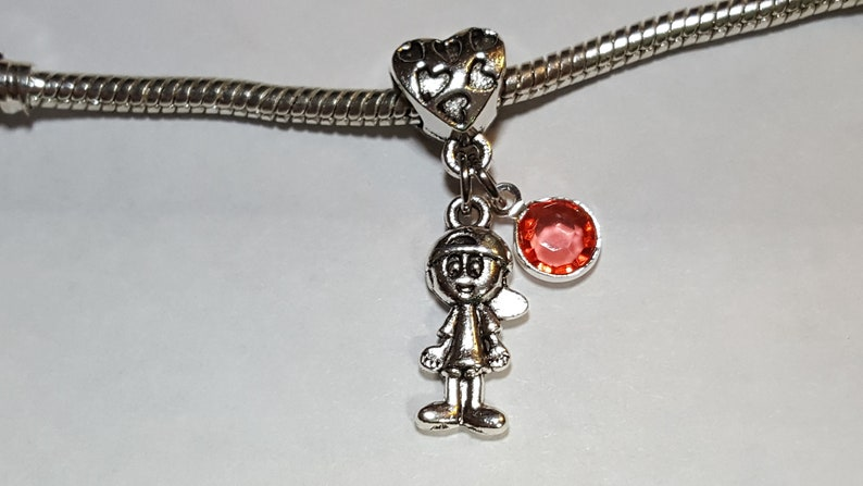 October Pink Tourmaline Birthstone Dangle Charm Son Brother   Friend   Sibling Little Boy-Fits all Designer and European charm bracelet*