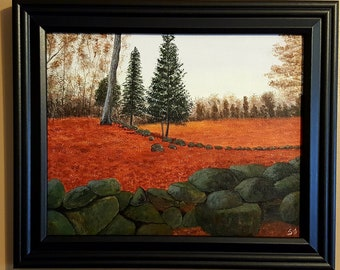 "Fall in New England, 8""x10"", Original Framed Acrylic Painting"