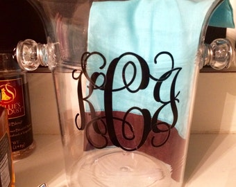 Personalized Acrylic Monogrammed Ice Bucket, Beaded & Wire Wrapped - Wine Chiller, Monogram Initials, Name, or Word, Polka Dots