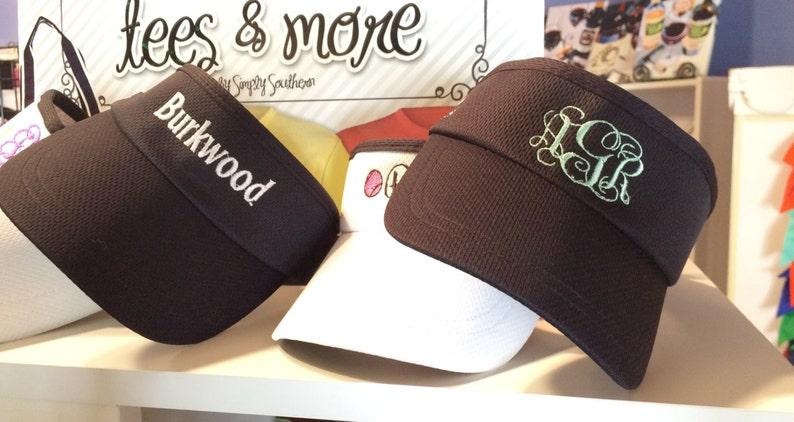 Embroidered Monogram Monogrammed Visors Headwear Headsweats Golf Hats Team Sports Runners Tennis Visors Team Gifts