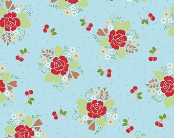 "Laminated Cotton Fabric - L5800-AQUA ""Sew Cherry 2"" By Lori Holt of Bee In My Bonnet. 100% cotton, Main in Laminate"