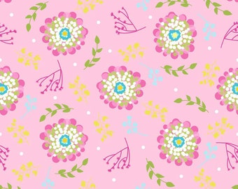 "Laminated Cotton Fabric - Riley Blake Designs ""Floriography"" Laminate by Pink Fig by Chelsea Andersen, Pink Floral"