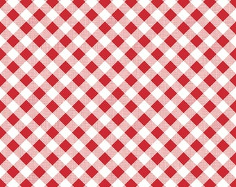 "Laminated Cotton Fabric - pattern L5808-Red ""Sew Cherry 2"" By Lori Holt of Bee In My Bonnet. 100% cotton, Gingham in Laminate"