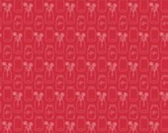 "Laminated Cotton Fabric - Riley Blake ""Modern Minis"" by Lori Holt of Been In My Bonnet pattern L4762 Red - Mason Jars. Waterproof Fabric."