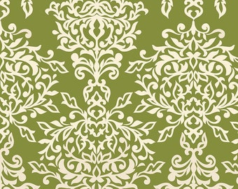 "Laminated Cotton Fabric Rain coat fabric - Riley Blake Designs ""Botanique"" by Lila Tueller Designs, pattern L5082 Green - Damask"
