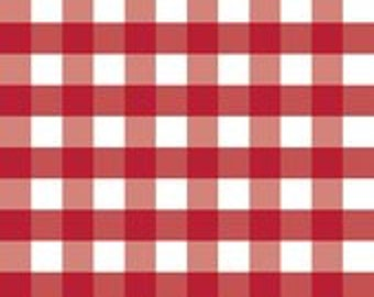 "Laminated Cotton Fabric - Riley Blake Designs ""1"" Gingham""  Laminate, pattern L355-Red/white.  Squares measure 1"". Waterproof Fabric"