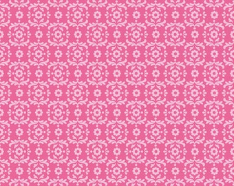 "Laminated Cotton Fabric - Riley Blake Designs ""Summer Song 2"" by Zoe Pearn, pattern L4624 Hot Pink - Damask"