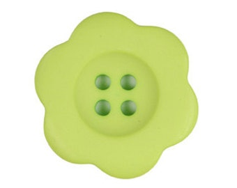 "Large Button Green Button Flower Button 1.5"" Button - Riley Blake Designs Brand ""Sew Together"" Buttons 1.5"",  Matte Flower Lime Green"