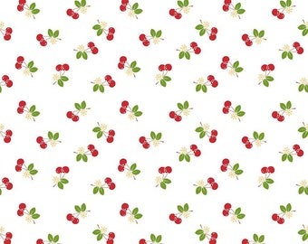 "Laminated Cotton Fabric L5804-White - ""Sew Cherry 2"" By Lori Holt of Bee In My Bonnet. 100% cotton, Cherry in Laminate"