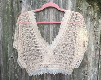 VINTAGE Edwardian Inspired Pale Pink Crochet Cropped Camisole Sz M