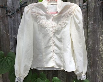 VINTAGE 1980's Edwardian Inspired Blouse Lace Button Up Long Sleeve Sz S/M