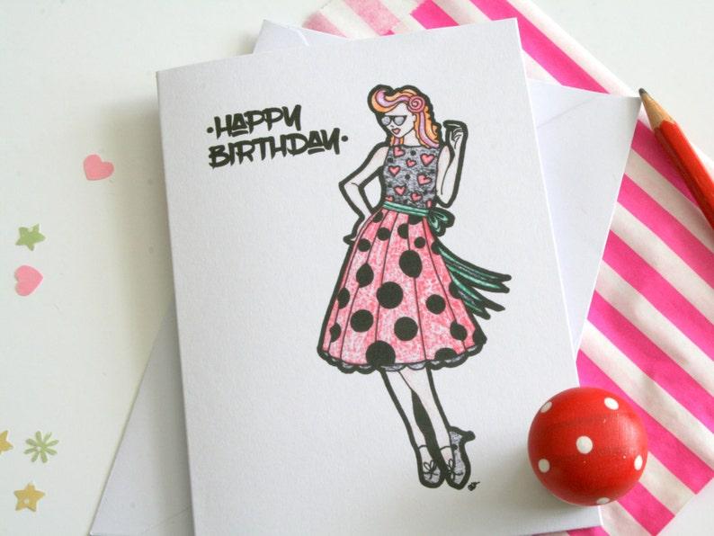 Rockabilly Happy Birthday Card Rock N Roll
