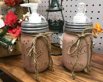 Distressed Mason Jar Soap Dispensers