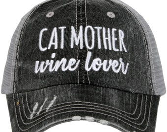 Free Shipping - Cat Mother Wine Lover Women s Trucker Hat - KDC-TC-471 dca6c7528c42