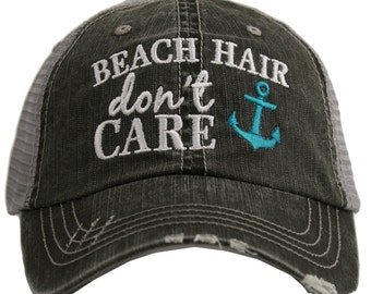 662ad38a28467 Free Shipping - Beach Hair Don t Care ANCHOR Women s Trucker Hat -  KDC-TC-163