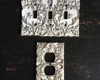 Vintage Triple Switch Plate Cover with Matching Outlet Cover
