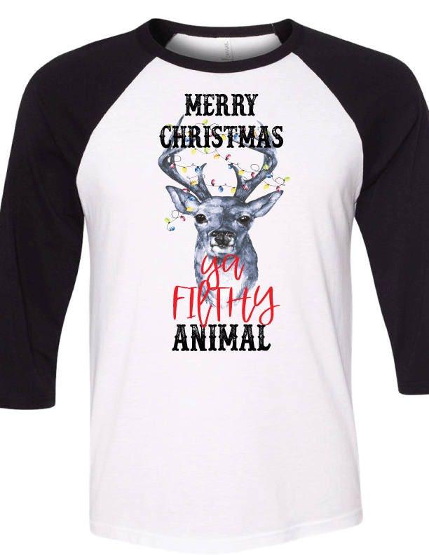 Frohe Weihnachten Ya schmutzige Tier Shirt 3/4 Sleeve Baseball | Etsy