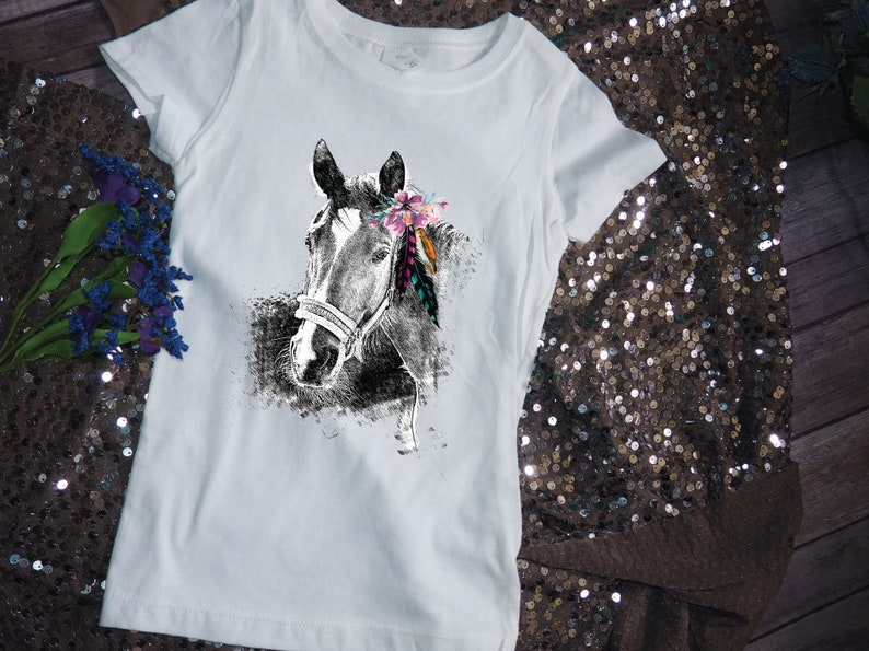 0643d5473 Girls Horse Shirt Western Clothing Kids Country Shirt Toddler | Etsy