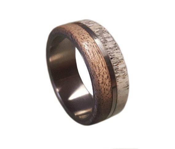 Titanium Ring Deer Antler Ring Mens Titanium Wedding Band Etsy