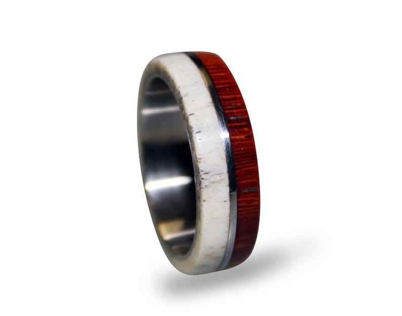 Antler men ring wood and stainless steel ring unisex ring