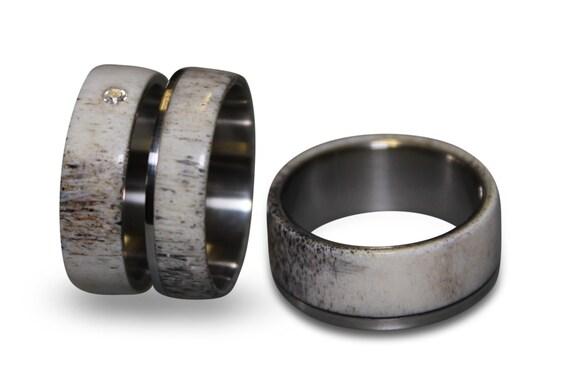 Engagement Antler Ring And Antler Wedding Band Set Titanium Etsy