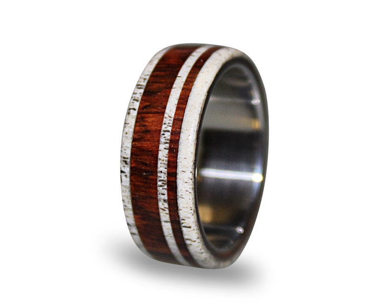 Antler Ring Stainless Steel Ring With Cocobolo Wood and Deer Antler Inlay Wood Ring Mens Band Steel Wedding Band