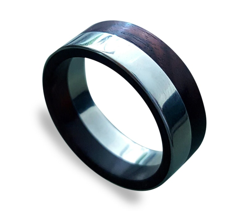 King Wood Inlay Stainless Steel Wedding Band Stainless Steel Ring