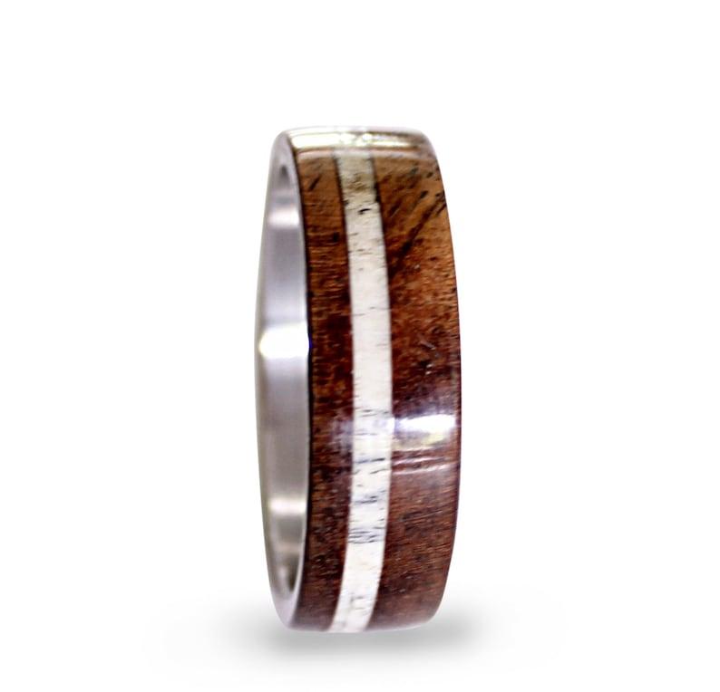 Deer Antler Ring Inlay Oak Wood And Antler Inlays Mens Titanium Band