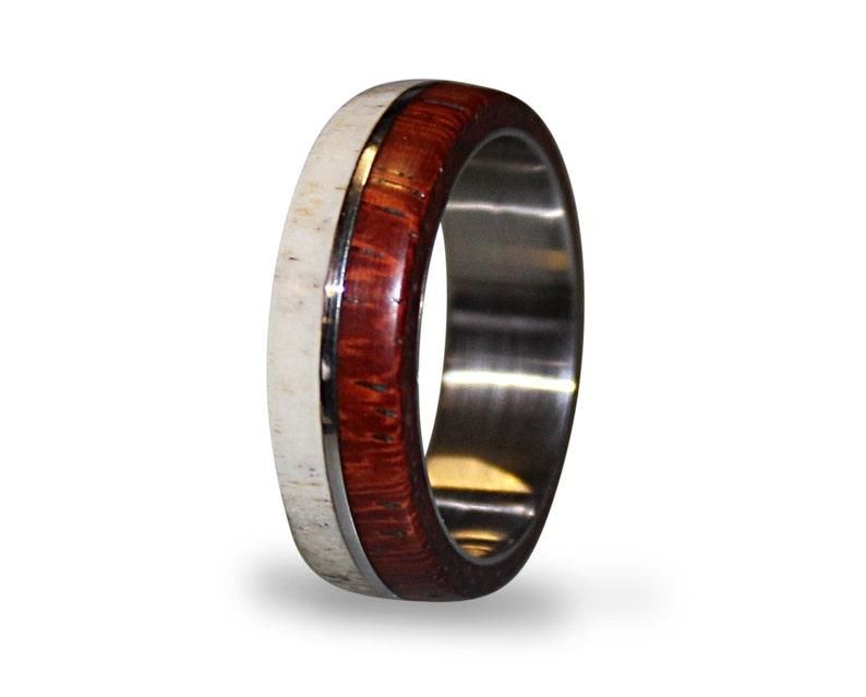 dba8f33d0b4cd Antler men ring wood and stainless steel ring unisex ring