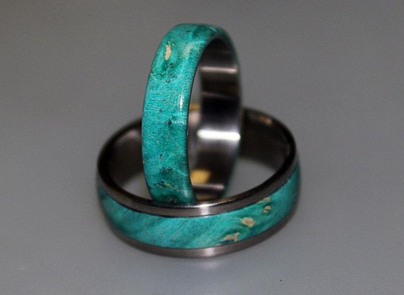 Teal Box Elder Burl Wood Womens Wedding Band His and Hers Wedding Rings Mens Titanium Wedding Band Titanium Ring Wedding Ring Set
