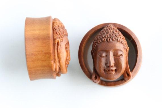 PA18 Stretched Gauged Earrings Buddha Plugs