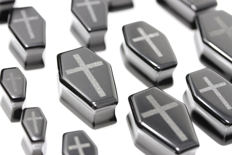 PH87 Black Obsidian Coffin Plugs with Engraved Cross