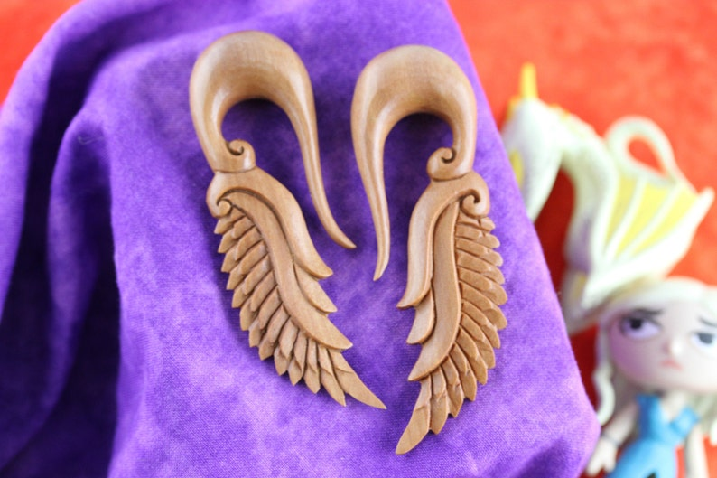 14 mm Stretching Earrings 916 Wooden Dragon Wing Plug Earrings A042 Stretch Earrings 14mm Dragon Wings
