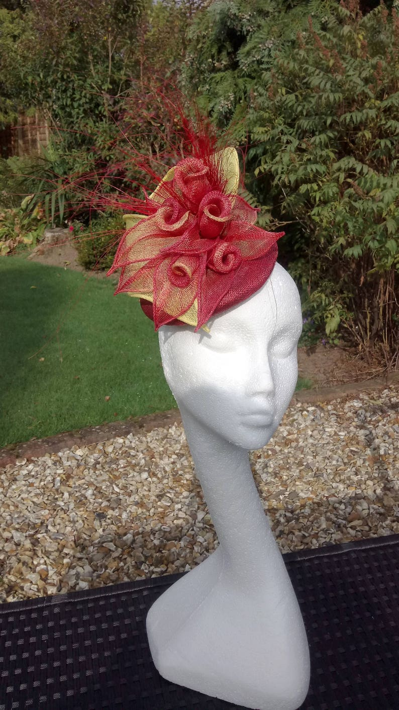 9fcd5f81 Rose fascinator. Yellow Hatinator Wedding Hat Mother of the | Etsy