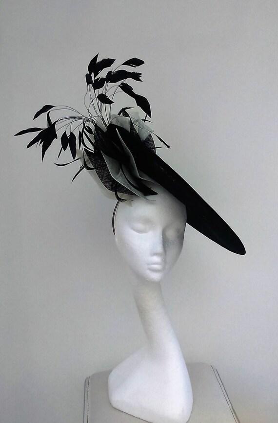 Dramatic Black white disc hatinator. Wedding Hatinator  9b48ca86680