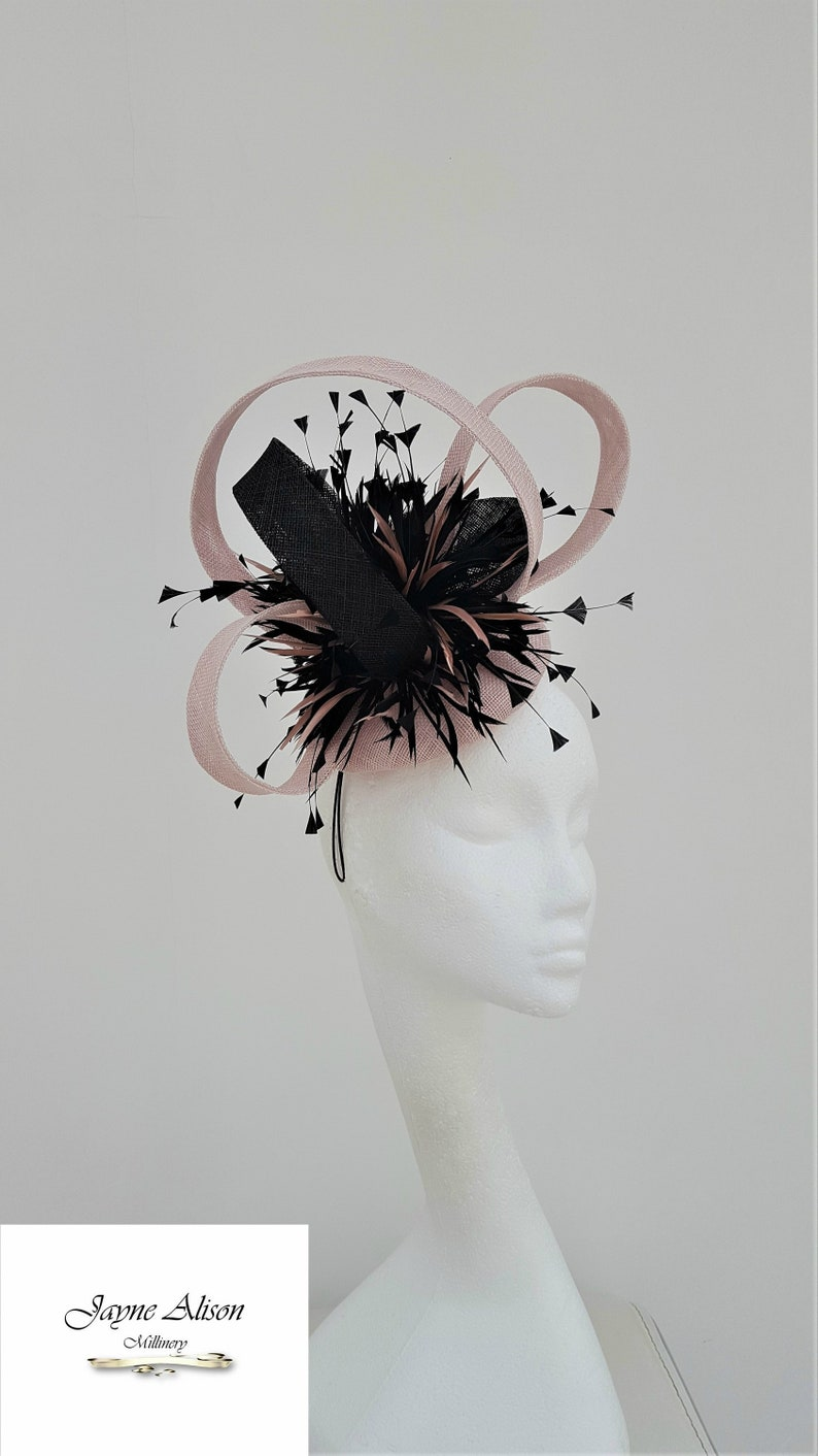 90a14152 Nude and Black Fascinator Wedding Hat Mother of the Bride | Etsy