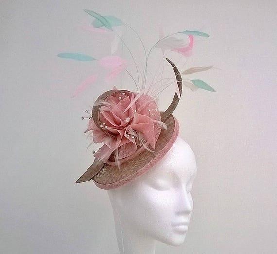 Pink Coffee Fascinator. Pink Hatinator Wedding Hat Mother of  b8524c9c439