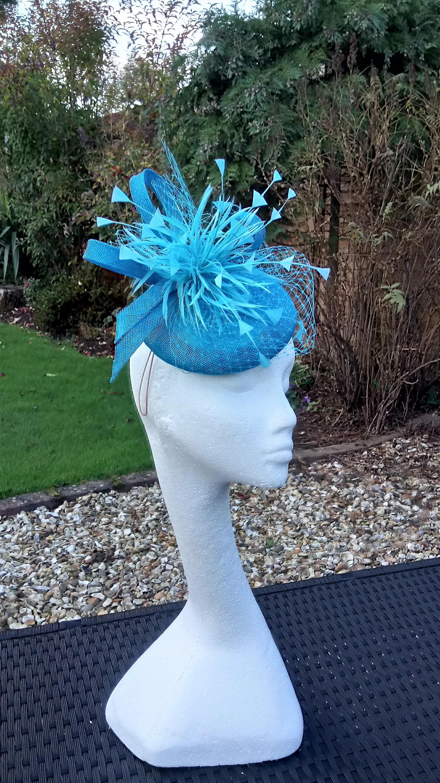Turquoise Aqua Blue fascinator hatinator. Weddings  283ff102ad0
