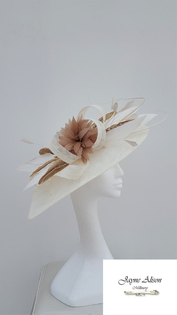 Coffe and Cream Ivory Hatinator Wedding Hat Mother of the  9c5028a9613