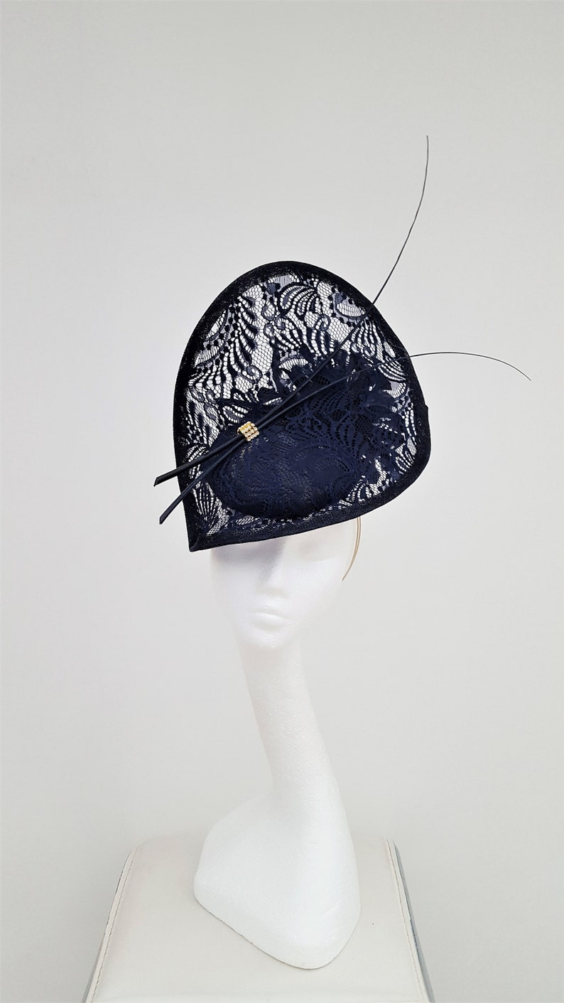48f09a64 Striking Navy lace Hatinator Wedding Hat Mother of the Bride | Etsy