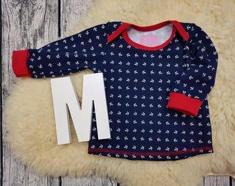 Babyshirt, American neckline, long sleeve shirt, longsleeve, gift, baby, wax shirt, shirt, jumper, anchor, sailor, Maritim, sailor