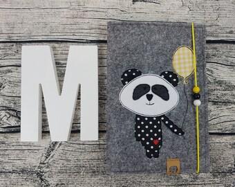 UHefthülle U-issue Panda bear Teddy Hipster personalized embroidered U notebook Baby Child Examination booklet felt Uheft sleeve u heftHülle Vaccination